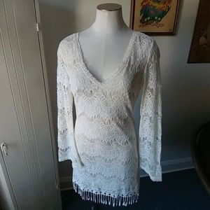 White lace bell sleeve dress M